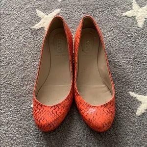 Jcrew orange snakeskin leather flats